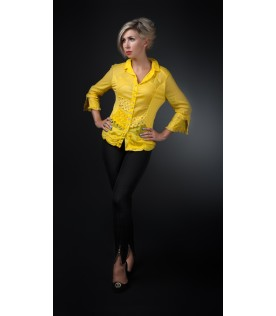 Рубашка ярко-желтого цвета с кружевами
